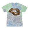 Trenz Shirt Company Women's Cheetah Aminal Print Lips Unisex Fit Short Sleeve Tie Dye T-Shirt