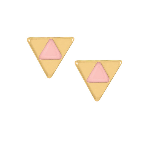 Whispers Stud Earring Collection Gold and Pink Triangle Post Earrings