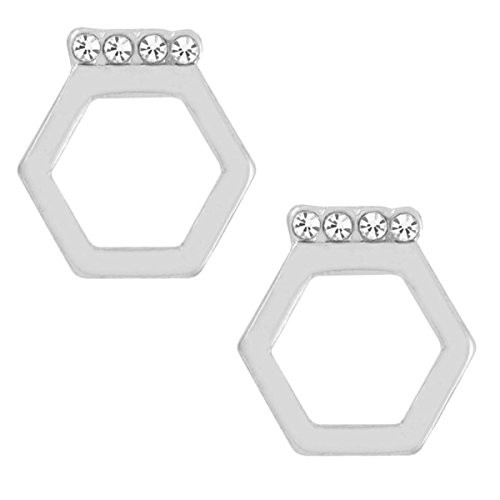 Whispers Stud Earring Collection Silver Hexagon with Clear Stone Earrings