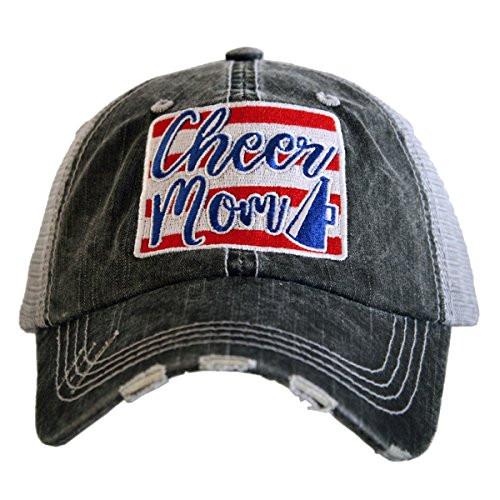 Katydid Cheer Mom Patch Women's Trucker Hat Gray/red/White/Blue