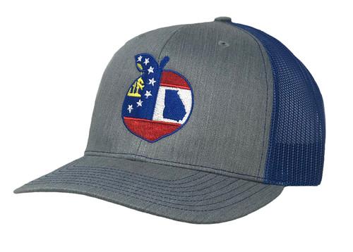 Heritage Pride Georgia State Flag Peach Trucker Hat-Demin, Royal Mesh
