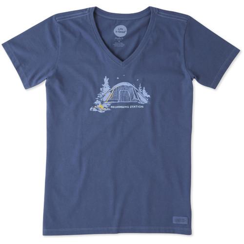 Life Is Good®Womens Recharging Station Crusher V-neck Short Sleeve T-shirt