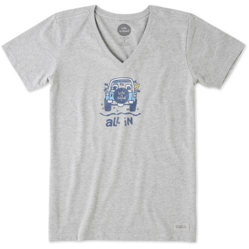 Life Is Good®Womens All In ATV Crusher V-neck Short Sleeve T-shirt