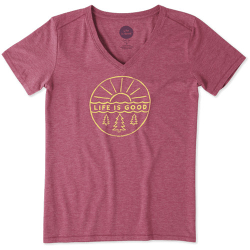 Life Is Good® Womens Pines and Sun V-neck  Short Sleeve T-shirt
