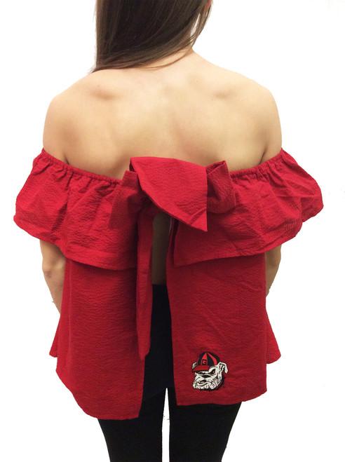 Lauren James NCAA Georgia Bulldogs Kippy Solid Ruffle Backless Top