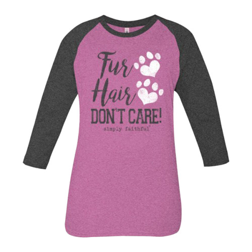 Simply Faithful Women's Fur Hair 3/4 Sleeve Raglan T-shirt
