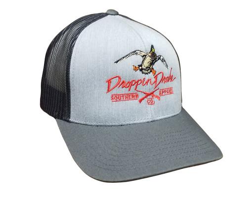 Droppin Drake Mallard Duck and Gun X Logo Trucker Mesh Snapback Hat - Heather Gray/Light Charcoal, Light Charcoal Mesh