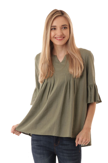Ijoah Women's Ruffle Sleeve Shirt