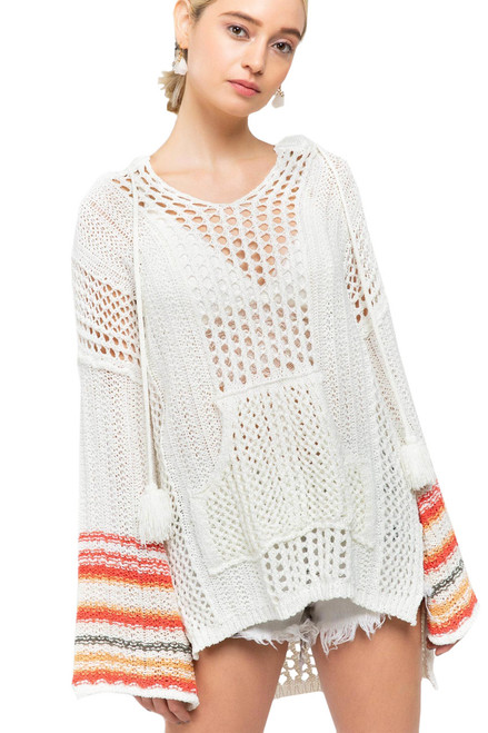POL Clothing Long Sleeve Hoodie with Stripped Sleeves- Ivory