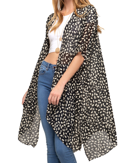 She + Sky Leopard Print Sleeveless Woven Open Front Cover Up- One Size Fits All