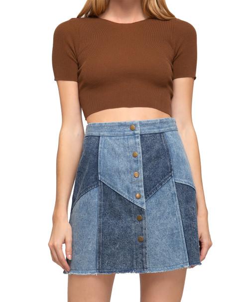 She + Sky Two Toned Denim Mini Skirt