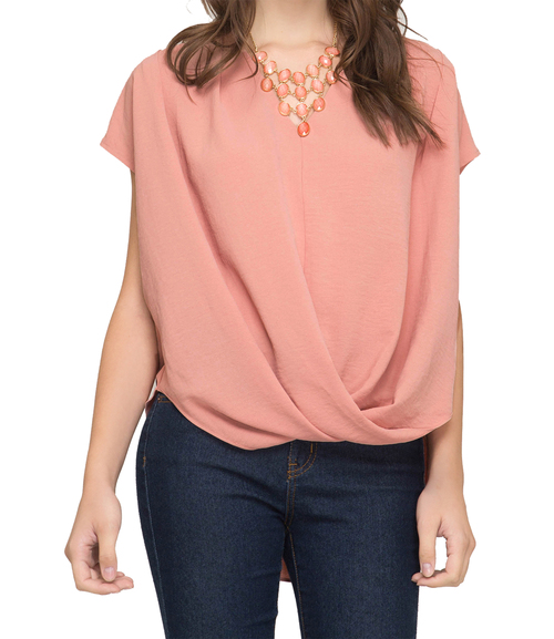 She + Sky Drop Shoulder Surplice Woven Top- Peach Blush