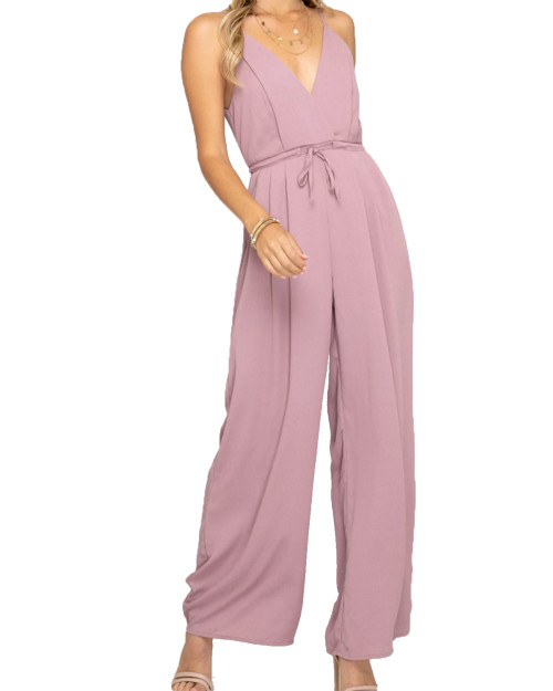 She + Sky Cami Jumpsuit with Wide Pleated Pants