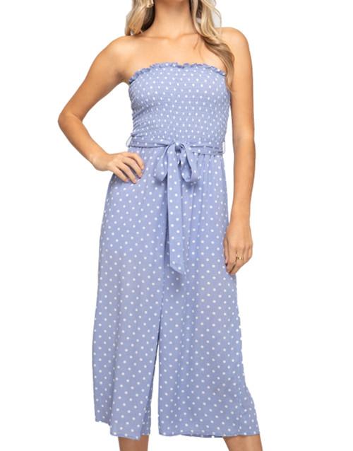 She + Sky Woven Polka Dot Print Culotte Jumpsuit