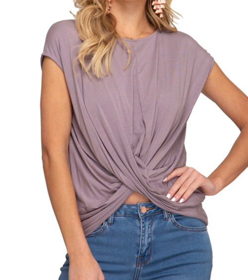 She + Sky Short Sleeve Knit Top with Front Crossed Detail