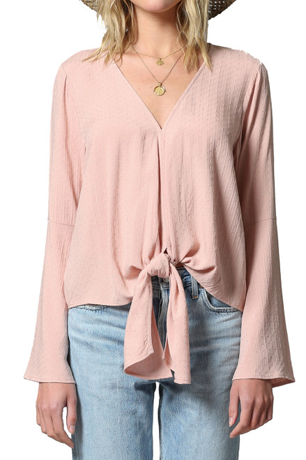 By Together V-Neck Long Sleeve Flared Arm Front Tie Bottom Top