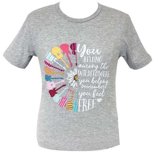 Girlie Girl Originals Lulu Mac Collection Guitars and Wildflowers Short Sleeve T-Shirt