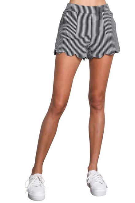 Wishlist Women's Striped Scallop Hem Mini Shorts with Pockets