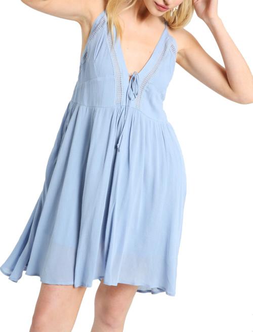 Wishlist Lace-Up V-Neck Mini Dress