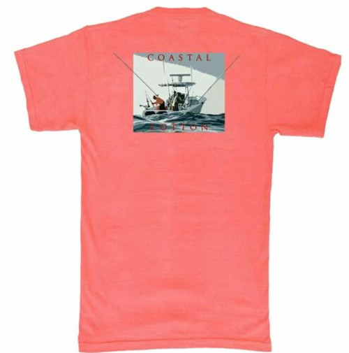 Coastal Cotton Red Center Console Short Sleeve Tee