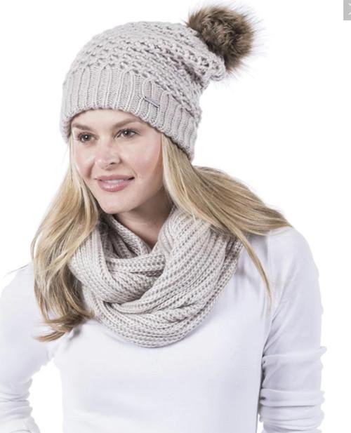 Katydid Women's Knitted Beanie Hat with Pom Pom