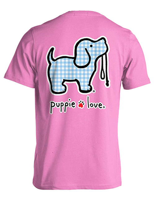 Puppie Love Rescue Gingham Pup Adult Unisex Short Sleeve T-Shirt