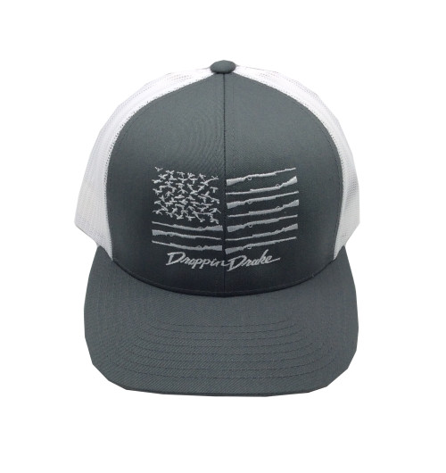 Droppin Drake White American Duck Flag Snapback Hat- Charcoal/White Mesh