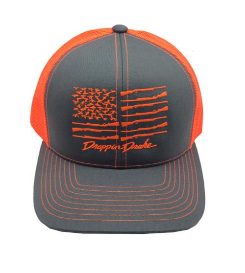 Droppin Drake American Duck Flag Trucker Mesh Snapback Hat- Gray/Orange