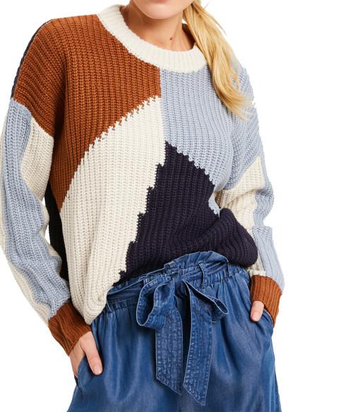 Wishlist Multi-Color Round Neck Sweater