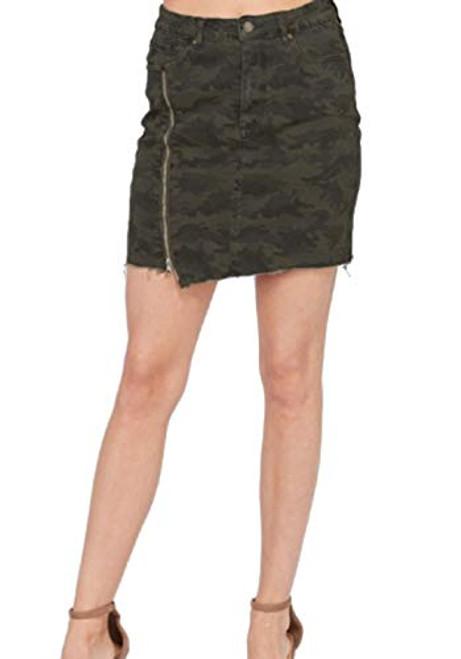 Wishlist Camo Print Zipper Slit Skirt Multi