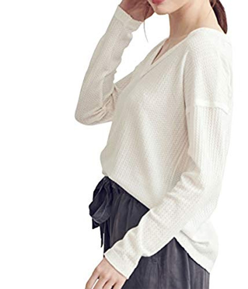 Wishlist Women's Thermal Knit Vee Neck Pullover Top Grey