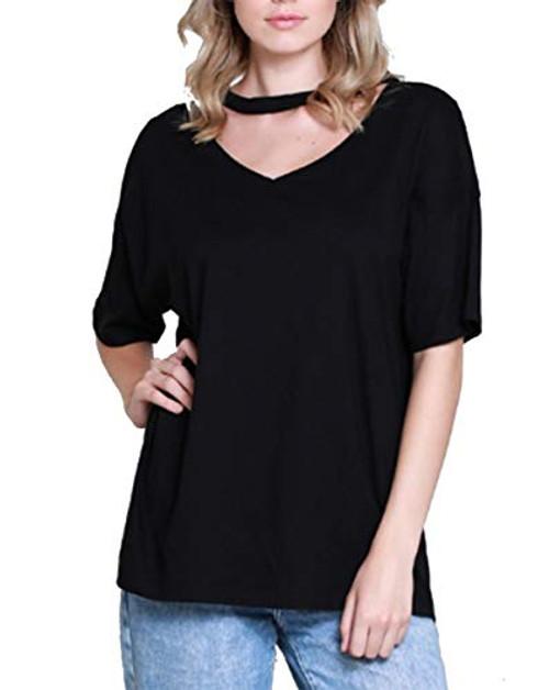 Wishlist Short Sleeve Choker Neck Top Black