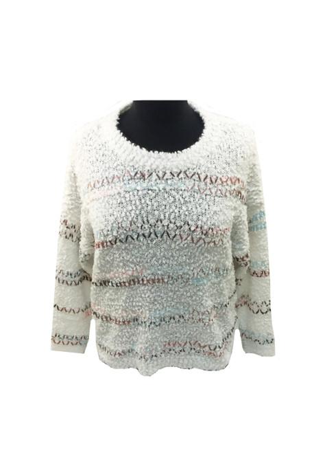 Wishlist Striped Fuzzy Knit Sweater