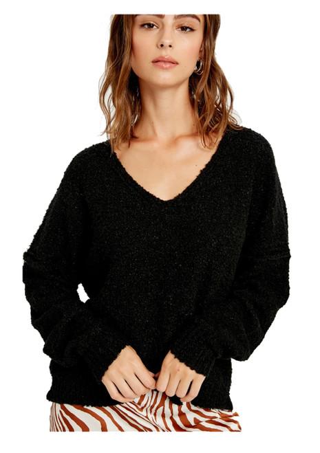 Wishlist Fuzzy Soft V-Neck Sweater