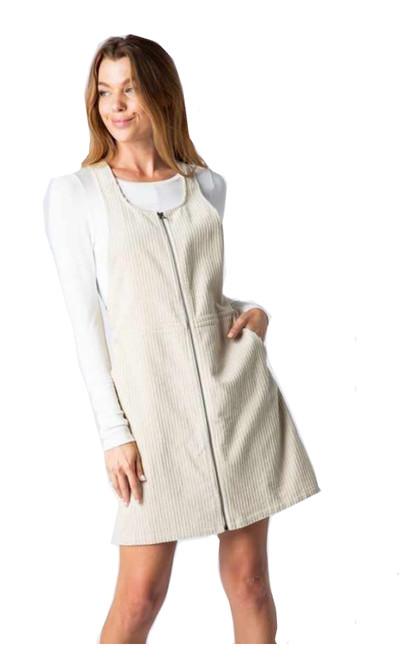 Cozy Casual Corduroy Zip Front Mini Dress
