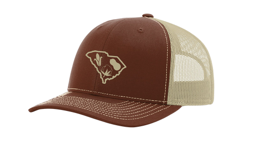 It's All About The South South Carolina State Outline With Crops Mesh Back Trucker Hat