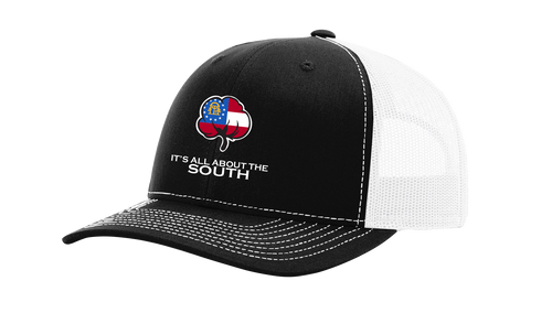 It's All About The South Georgia Flag FIlled Cotton Boll Mesh Back Trucker Hat