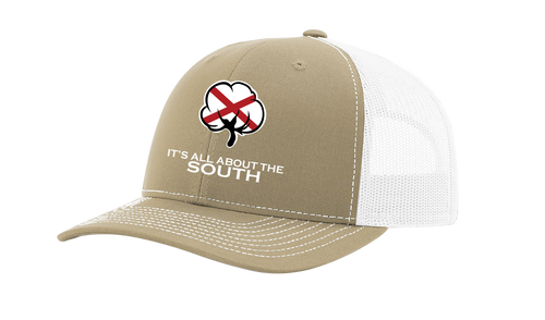 It's All About The South Alabama State Flag Filled Cotton Boll Mesh Back Trucker Hat