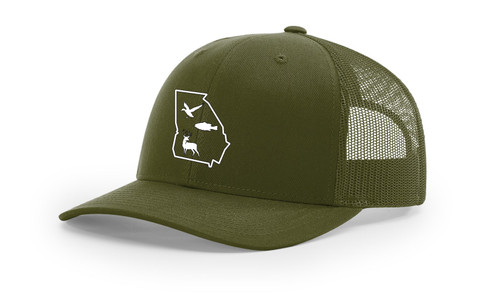 It's All About The South Georgia Outline With Wildlife Animals Mesh Back Trucker Hat