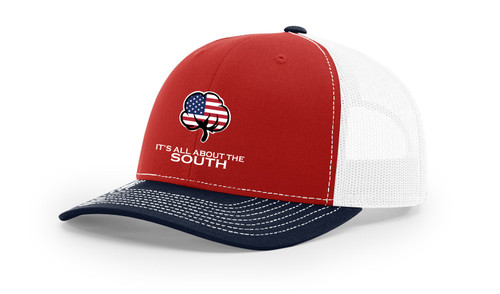 It's All About The South American Flag Cotton Boll Mesh Back Trucker Hat