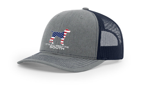 It's All About The South American Flag Filled Pointer Mesh Back Trucker Hat