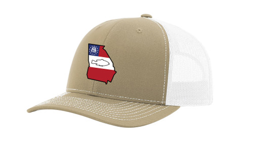 It's All About The South Flag Filled Georgia State With Fish Mesh Back Trucker Hat