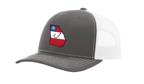 It's All About The South Flag Filled Georgia State With Fish Hook Mesh Back Trucker Hat