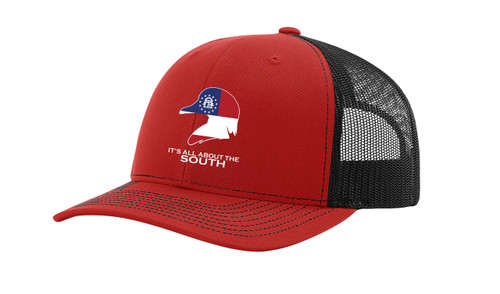 It's All About The South Georgia Flag Filled Wood Duck Mesh Back Trucker Hat