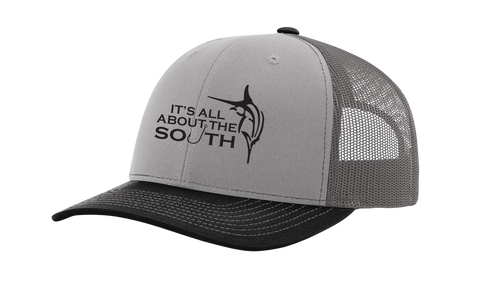 It's All About The South Marlin With Hook Mesh Back Trucker Hat