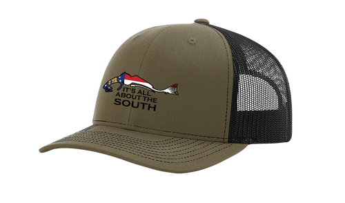 It's All About The South Georgia Flag Filled Redfish Mesh Back Trucker Hat