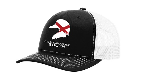 It's All About The South Alabama State Flag Filled Wood Duck Mesh Back Trucker Hat