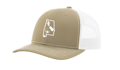 It's All About The South Alabama State Outline With Crops Mesh Back Trucker Hat