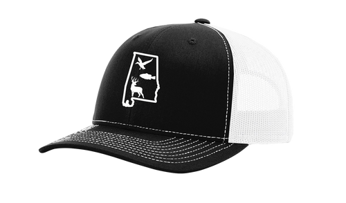 It's All About The South Alabama State Outline With Wildlife Animals Mesh Back Trucker Hat