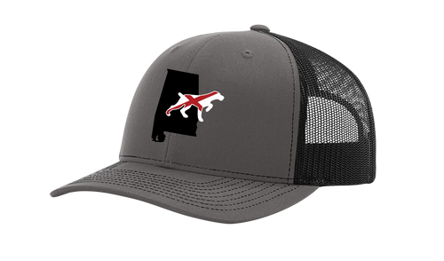 It's All About The South Alabama State With Flag Filled Dog Mesh Back Trucker Hat